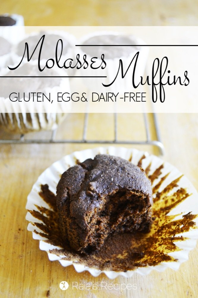 Molasses Muffins | gluten-free, egg-free, dairy-free | RaiasRecipes.com