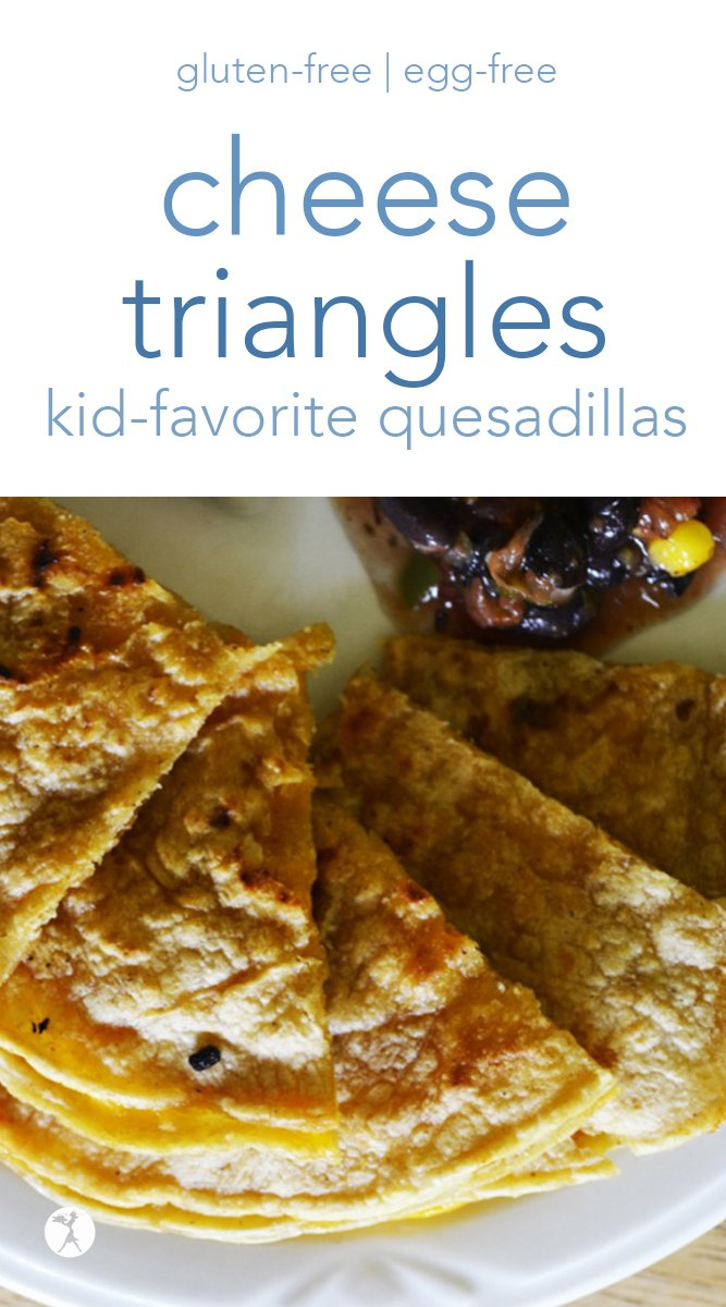 Simple and kid-friendly, these naturally gluten-free cheese triangles (a.k.a. quesadillas) are always a hit at my house! #cheese #quesadillas #glutenfree