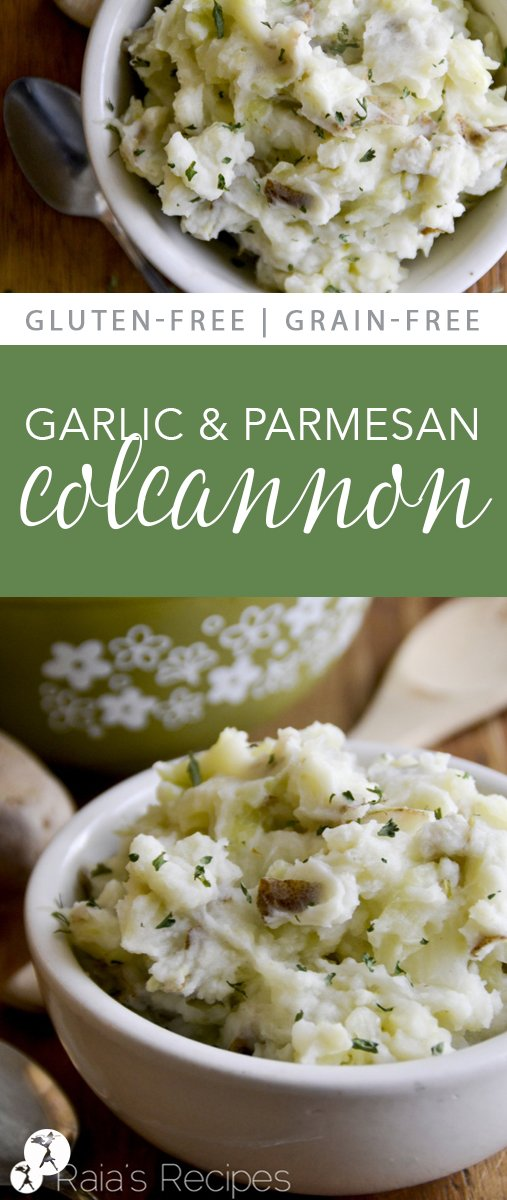Easy and delicious, this Irish-inspired Garlic Parmesan Colcannon is a great addition to any meal, or even a simple meal in itself! #realfood #glutenfree #grainfree #irish #colcannon