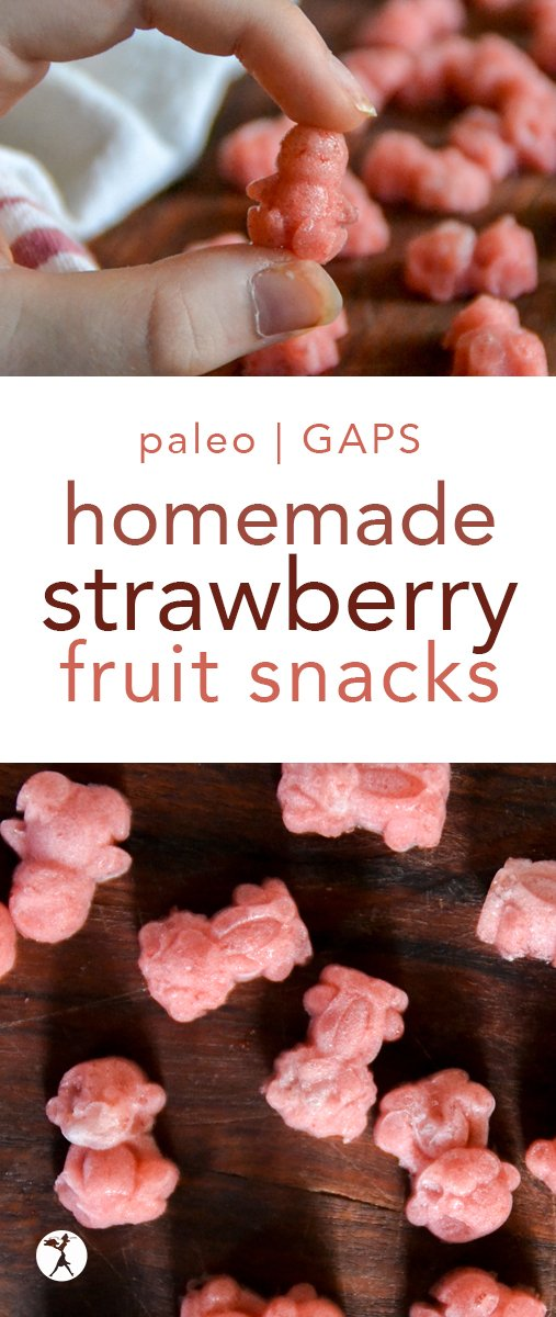 These easy, homemade Strawberry Fruit Snacks are a healthy snack kids love and moms don't feel badly about dishing out! Paleo, GAPS & real food. #fruitsnacks #gummies #fruit #snack #glutenfree #paleo #GAPSdiet #strawberries #healthy