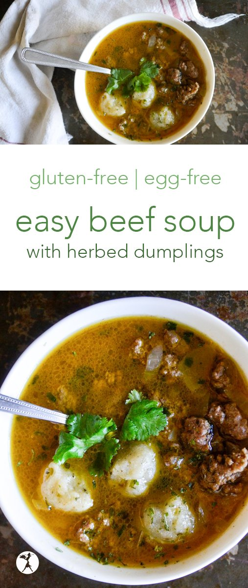This easy beef soup is the perfect gluten-free comfort food for chilly days! It's full of comforting herbed dumplings and nourishing broth. #glutenfree #soup #eggfree #sugarfree #nourishing #beef #dumplings #herbs