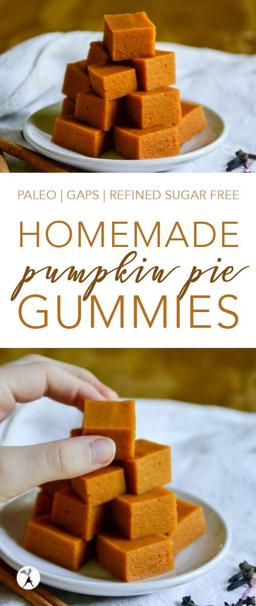 If you love pumpkin pie, these little Pumpkin Pie Gummies are for you! Gluten-free, dairy-free, and refined sugar-free, they're the perfect treat for fall! #pumpkin #pumpkinpie #gummies #homemade #healthy #gelatin #kosher #paleo #gapsdiet #glutenfree