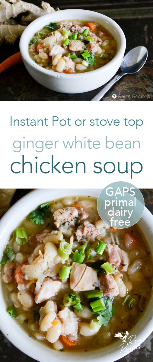 Cozy up to the table and enjoy this ginger white bean chicken soup! With Instant Pot or stove top instructions, it's a delicious GAPS-friendly and primal soup the whole family will love. #ginger #whitebeans #chicken #soup #chickensoup #primal #gapsdiet #realfood #glutenfree #instantpot