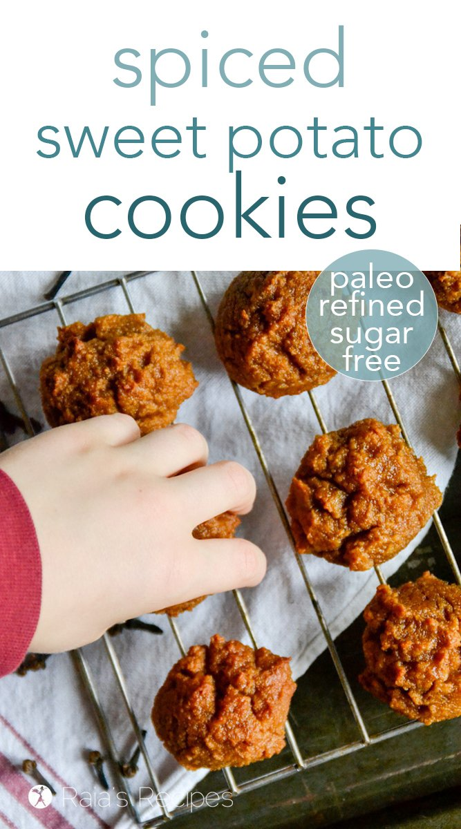 Looking for a cookie that is sweet and healthy at the same time? Give these paleo spiced sweet potato cookies a try! They're even a hit with non-sweet-potato-lovers! #paleo #cookies #sweetpotato #refinedsugarfree