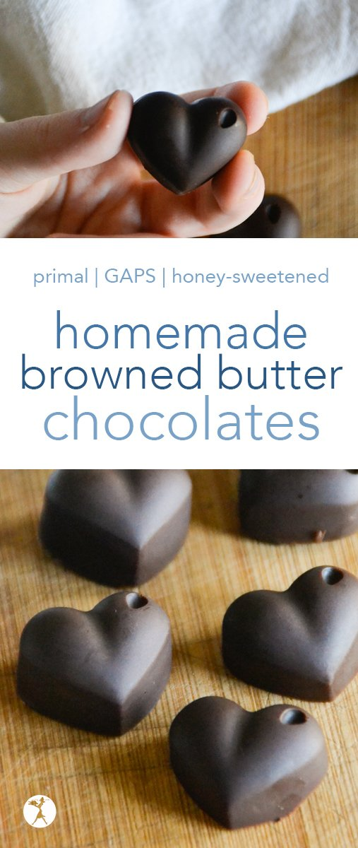 Deep and rich, these browned butter chocolates are a superbly delicious substitute for Hershey's or Dove's dark chocolates. Perfect for primal or Full GAPS! #chocolate #darkchocolate #primal #gapsdiet #refinedsugarfree #grassfedbutter #homemadecandy #dessert #glutenfree #healthytreat