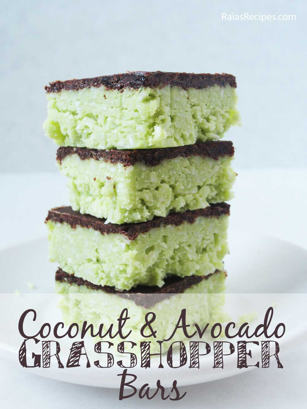 An old photo of my coconut avocado grasshopper bars.