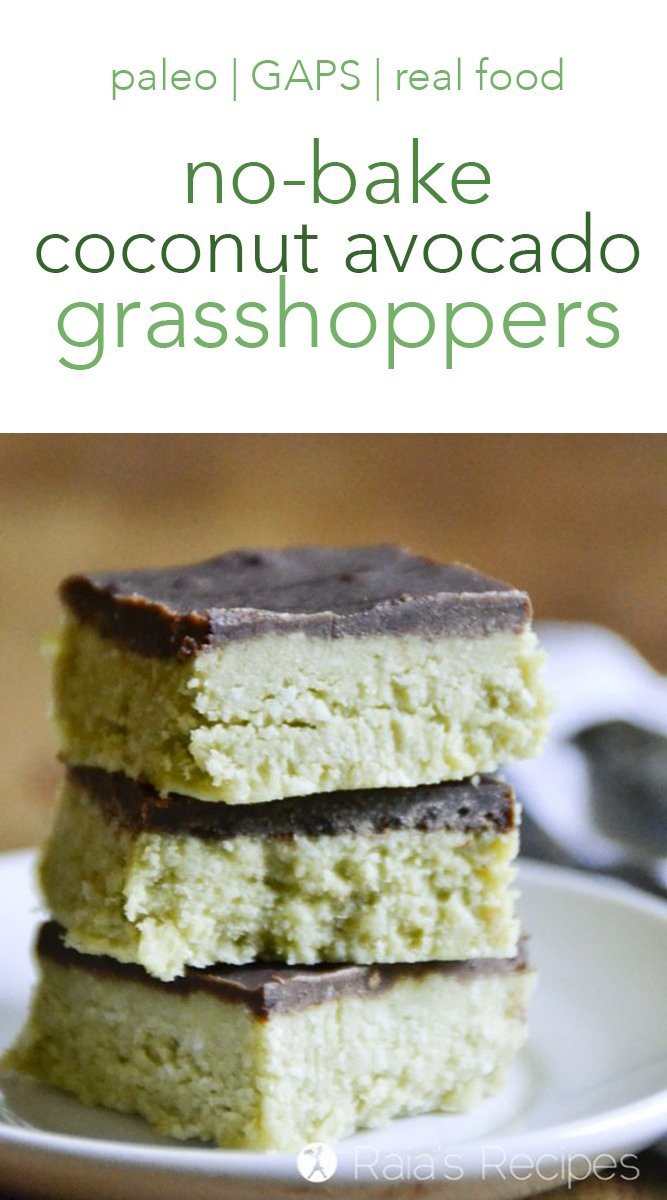Coconut & Avocado Grasshopper Bars #coconut #avocado #grasshopper #nobake #paleo #glutenfree #dairyfree #peppermint #chocolate #realfood #dessert