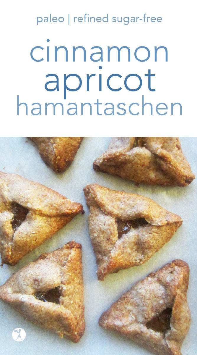 These cinnamon apricot hamantaschen are a delicious way to celebrate Purim. They're paleo-safe and great for the Full GAPS Diet, too! #hamantaschen #purim #cookies #paleo #glutenfree #dairyfree #refinedsugarfree