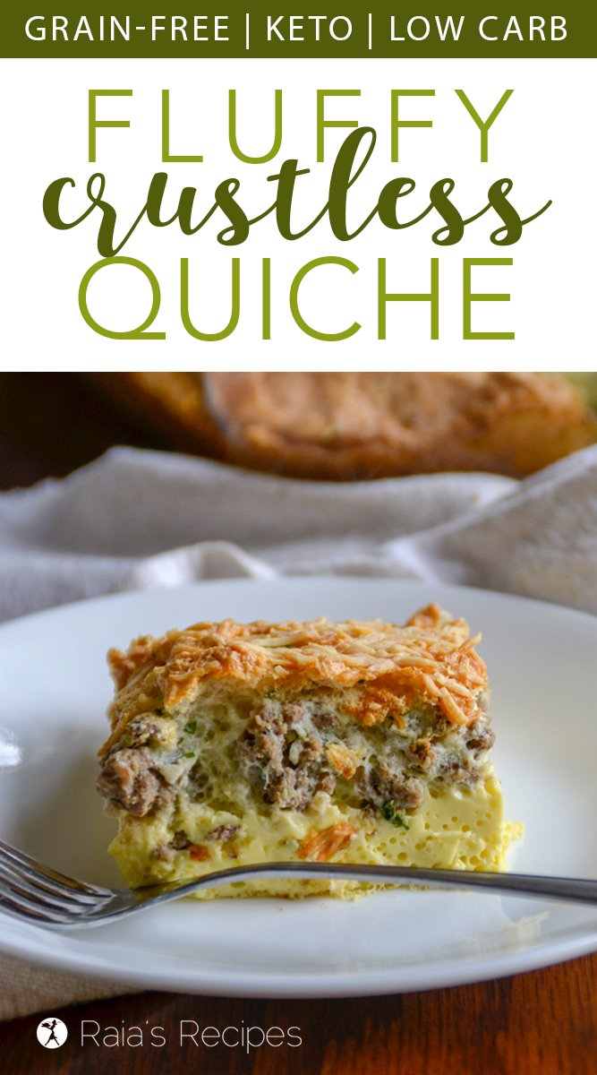 Fluffy Crustless Quiche #breakfast #quiche #eggs #glutenfree #grainfree #realfood #sausage #primal #keto #lowcarb #parmesan
