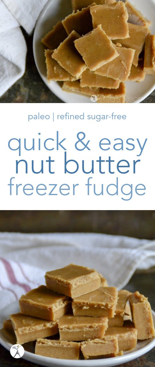 In the mood for fudge? Who isn't?! This Quick 'n Easy Nut Butter Freezer Fudge is a simple, paleo treat for when the mood hits you. #nutbutter #fudge #paleo #primal #gapsdiet #glutenfree