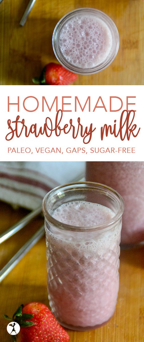 Full of vitamins, minerals, antioxidants, and of course deliciousness, this easy homemade dairy-free strawberry milk is a perfect summer treat. #strawberries #strawberry #paleo #gapsdiet #dairyfree #realfood #vegan #homemade #summer #kids