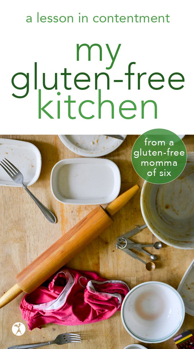 Want a sneak peek into my gluten-free kitchen? Let me give you a little tour of where all the excitement happens, and share how I stay content with my kitchen. #glutenfree #largefamily #kitchen