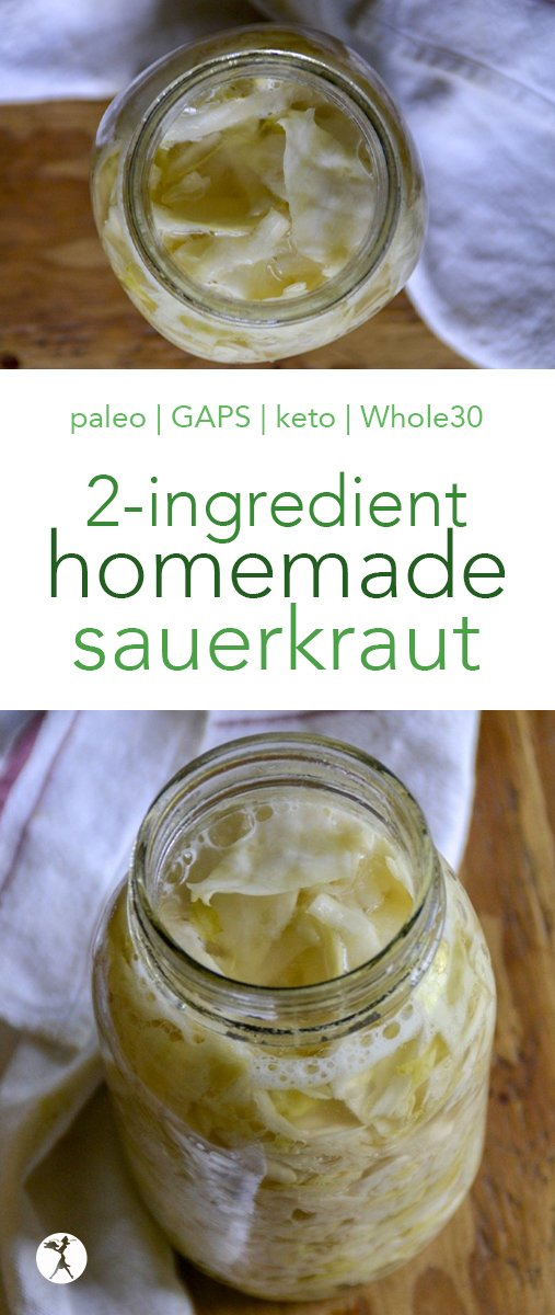 Love sauerkraut? This easy 2-ingredient homemade sauerkraut is not only delicious, it'll save you money, too. And it's perfect forpaleo, whole30, GAPS, and more! #sauerkraut #homemade #fermented #cabbage #paleo #gapsdiet #guthealth #keto #lowcarb #whole30