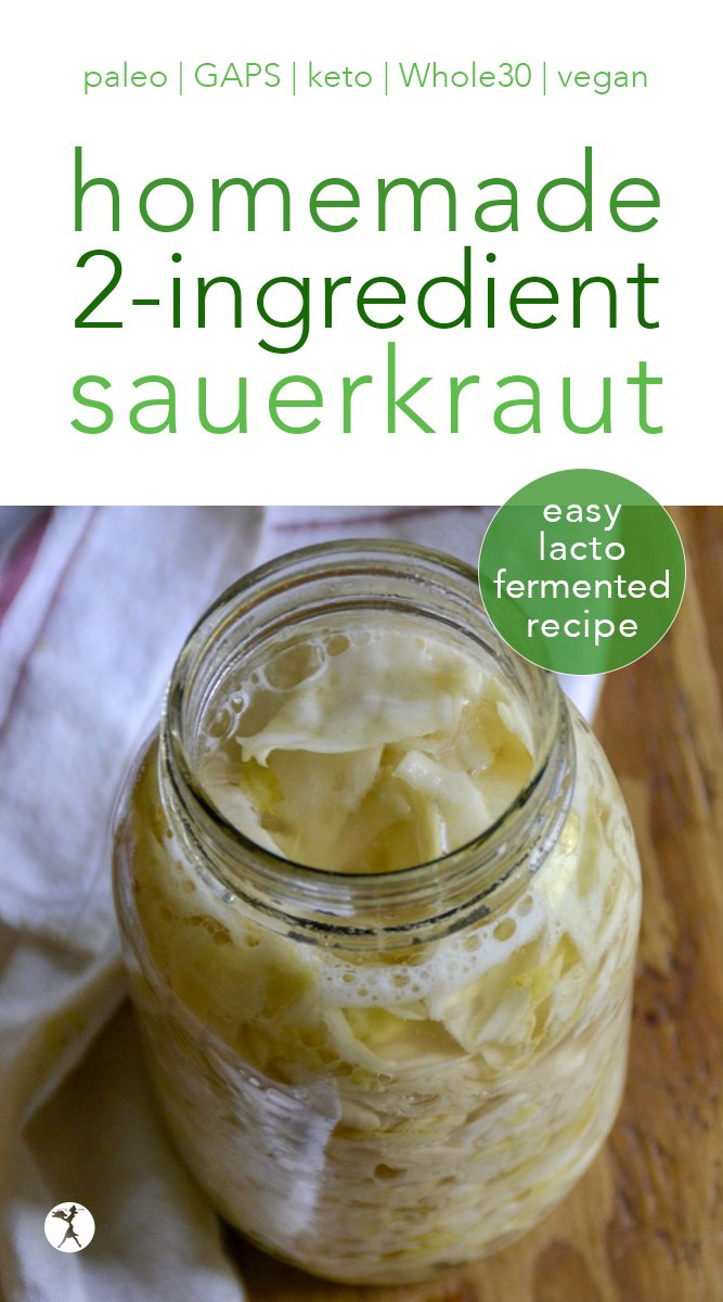 Love sauerkraut? This easy 2-ingredient homemade sauerkraut is not only delicious, it'll save you money, too. And it's perfect for paleo, whole30, GAPS, and more! #paleo #gapsdiet #lactofermented #fermentedfood #traditionalfood #sauerkraut #homemade #cabbage #whole30 #lowcarb #keto #vegan #2ingredients