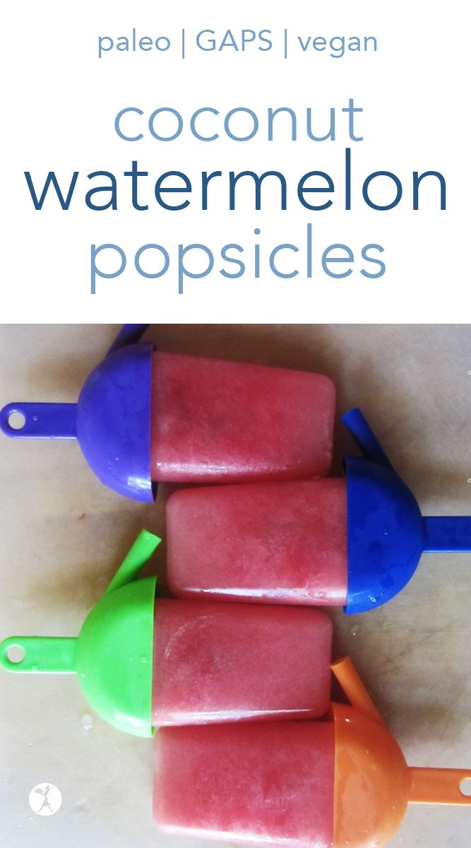 With only 2 ingredients, these naturally-sweetened coconut watermelon popsicles are a super easy favorite for the summer! They're naturally vegan and paleo, too! #coconut #watermelon #popsicles #vegan #paleo #gapsdiet #realfood #2ingredient