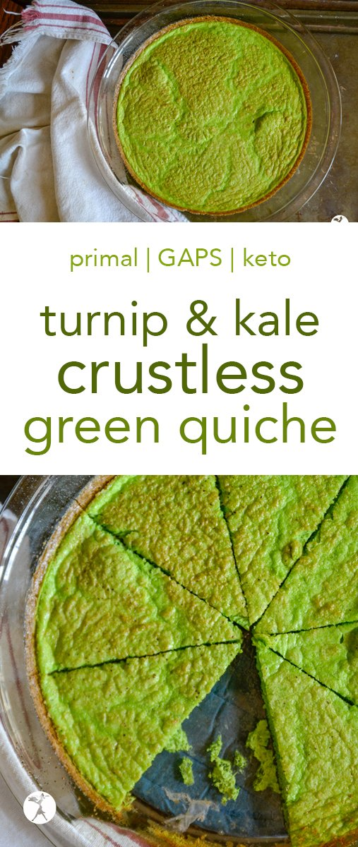 This Turnip & Kale Crustless Green Quiche is an easy and delicious way to sneak greens into your life! Just tell your kids it's a Grinch quiche... #quiche #gapsdiet #primal #keto #breakfast #lowcarb #green #eggs #turnip #kale
