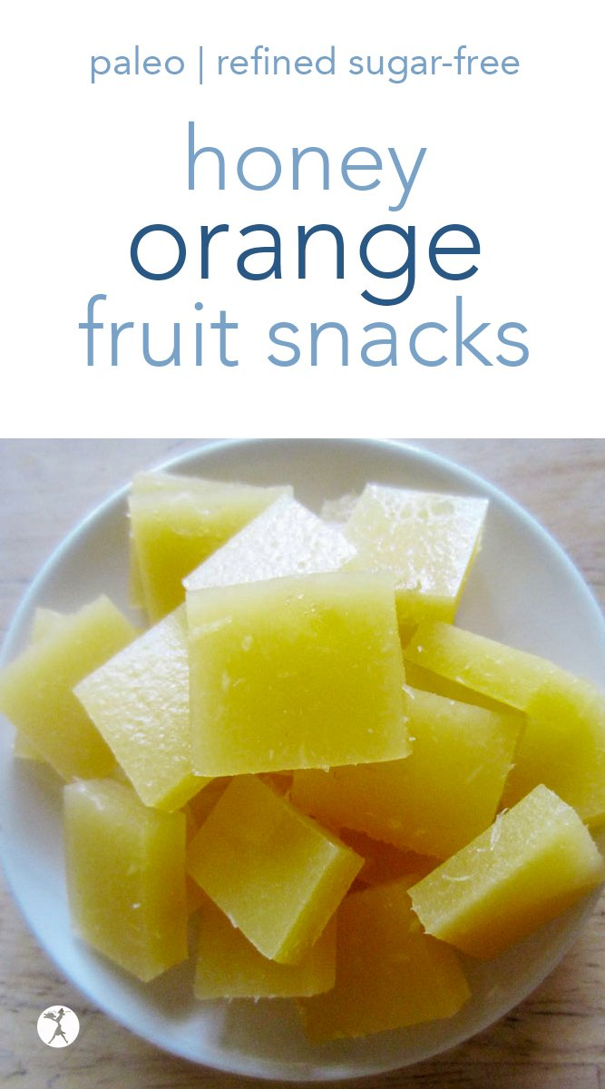 Naturally healthy and bursting with orange flavor, these honey-sweetened orange fruit snacks will be a hit with kids and parents alike! #fruitsnacks #gummies #honey #orange #paleo #glutenfree #guthealth #healthysnack #refinedsugarfree