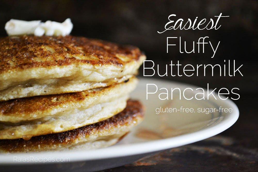 Easiest Fluffy Buttermilk Pancakes | gluten-free, sugar-free | RaiasRecipes.com