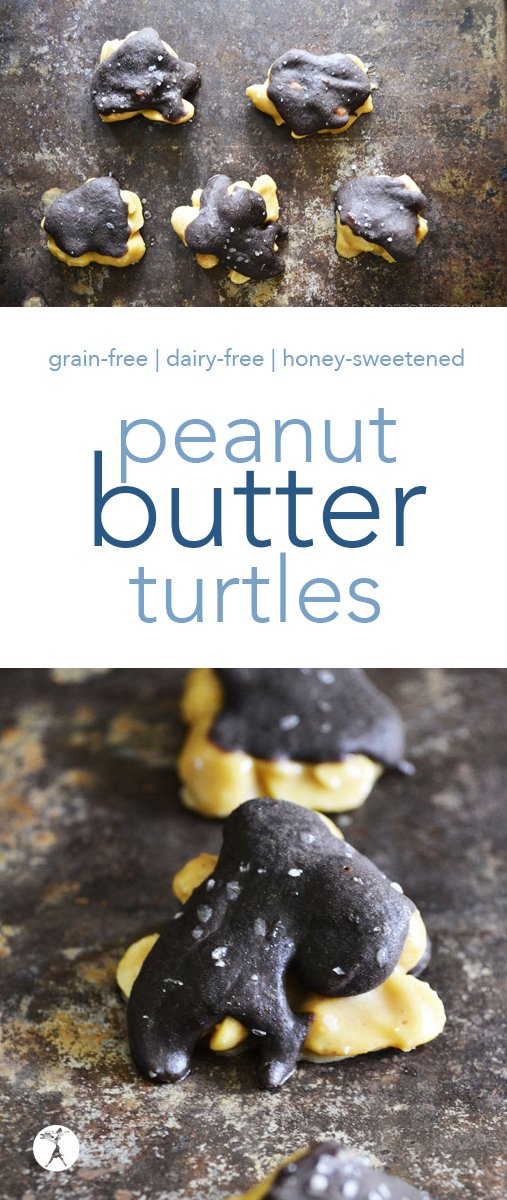 Delicious and allergy-friendly, these simple Peanut Butter Turtles are an easy twist to a classic treat. And bonus! There are no turtles actually involved in the recipe... #peanuts #peanutbutter #turtles #candy #dessert #glutenfree #grainfree #gapsdiet #realfood #dairyfree #refinedsugarfree