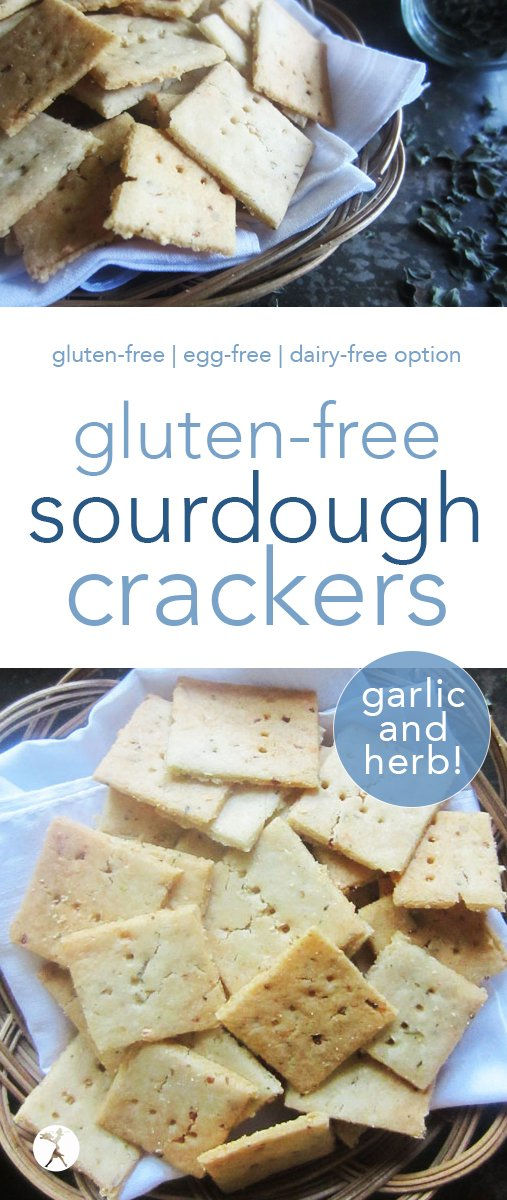 These gluten-free garlic & herb sourdough crackers are a delicious and healthy snack. Gluten-free sourdough starter recipe included, too! #sourdough #glutenfreesourdough #crackers #garlicandherb #snack