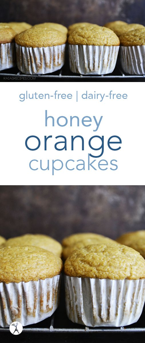 Simple and sweetened only with honey, these Honey Orange Cupcakes are a light and delicious treat! They're dairy-free and perfect for birthdays and dessert. #honey #orange #cupcakes #glutenfree #dairyfree #realfood #birthday #treats #glutenfreedessert