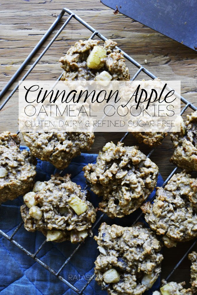 Cinnamon Apple Oatmeal Cookies | gluten, dairy, and refined sugar free | RaiasRecipes.com