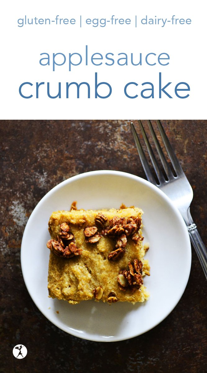 Applesauce crumb cake is a delicious thing to wake up to! Free from gluten, eggs, and dairy, it's one of my family's favorite breakfast treats. #breakfast #glutenfree #eggfree #dairyfree #applesauce #crumbcake #coffeecake #brunch