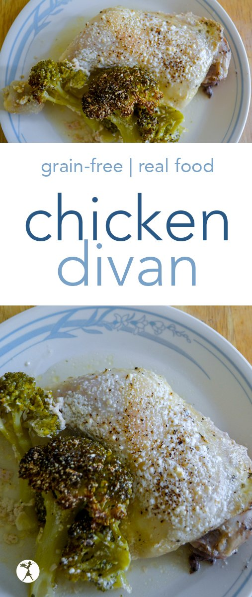 Nostalgic and delicious, you'll love this grain-free chicken divan! It's an easy, one-pan dinner that the whole family can enjoy. #chicken #broccoli #realfood #grainfree #primal #eggfree #dinner