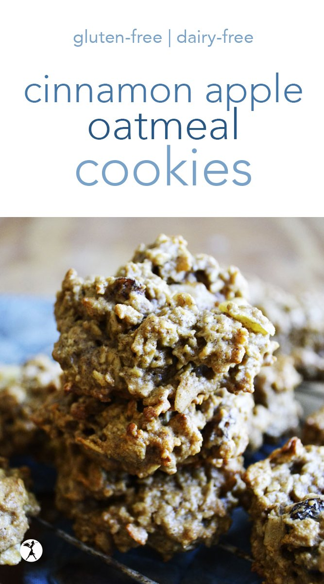 Easy and kid-friendly, these cinnamon apple oatmeal cookies are a simple and nutritious gluten-free and dairy-free treat that's 100% mom-approved. #cinnamon #apple #oatmeal #cookies #glutenfree #dairyfree #refinedsugarfree #dessert #healthytreats