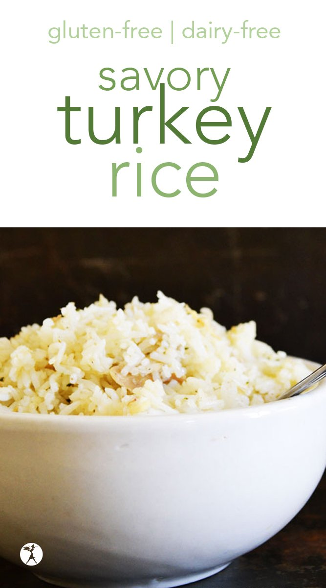 This savory turkey rice is a wonderful way to use up Thanksgiving leftovers as a tasty side dish or a light lunch. #turkey #rice #glutenfree #dairyfree #eggfree #sugarfree #sidedish