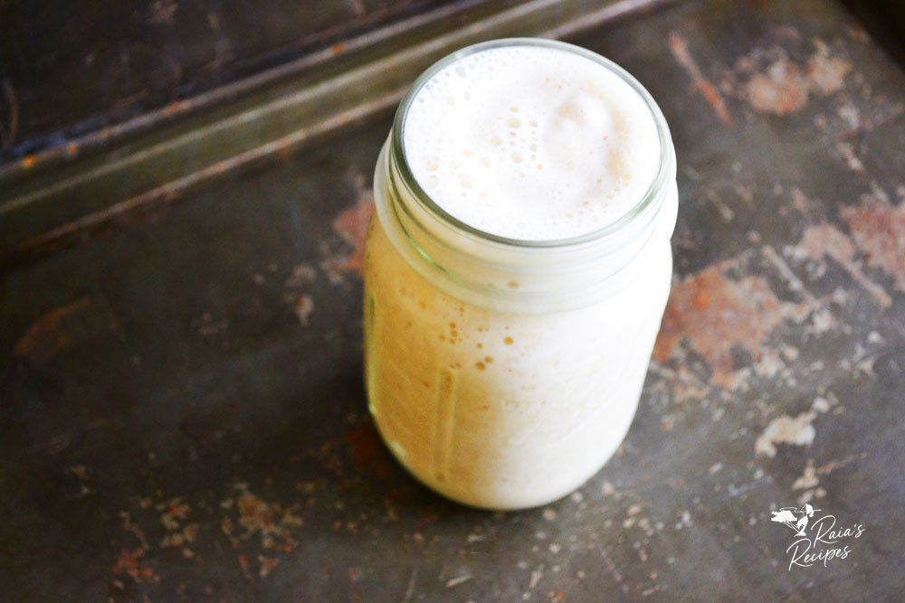 cover photo for healthy eggnog smoothie from raiasrecipes.com