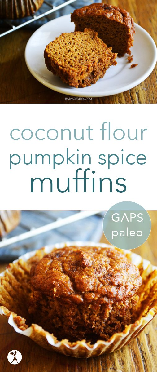 These coconut flour pumpkin spice muffins are perfect for breakfast or a snack. They're paleo and GAPS diet-friendly, too, so you don't have to feel guilty devouring them! #pumpkin #pumpkinspice #muffins #paleo #glutenfree #dairyfree #coconutflour #cleaneating #gapsdiet