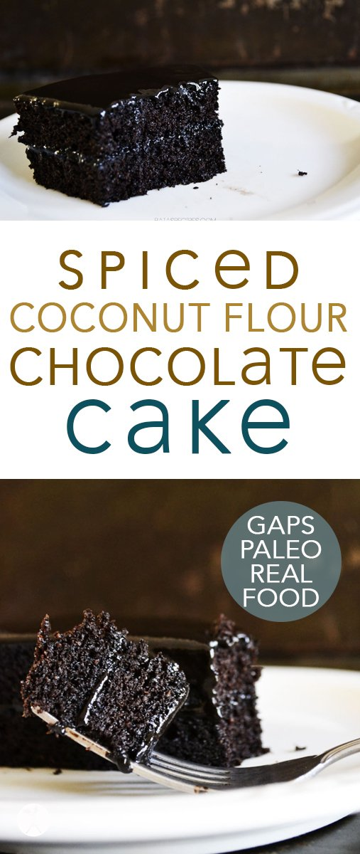 Perfectly spiced and with a lovely crumb, this paleo and GAPS-friendly Spiced Dark Chocolate Cake is the perfect treat to brighten any day! #chocolate #darkchocolate #paleo #gapsdiet #grainfree #honey #coconutflour #spiced #cake #chocolatecake