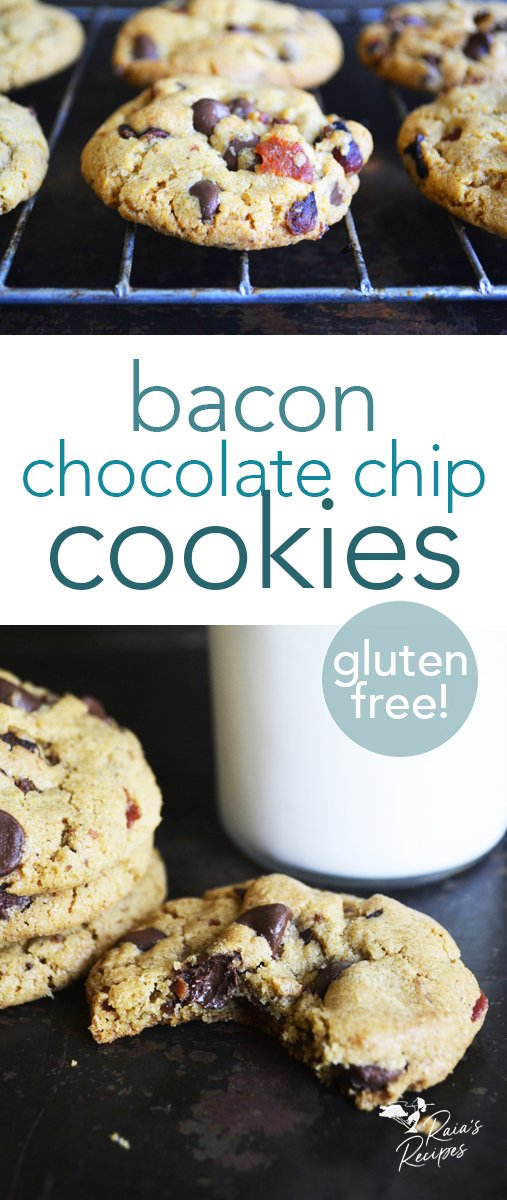 These soft, chewy gluten-free chocolate chip bacon cookies are a perfect pairing of sweet chocolate and salty bacon. #bacon #chocolatechip #cookies #glutenfree #dessert