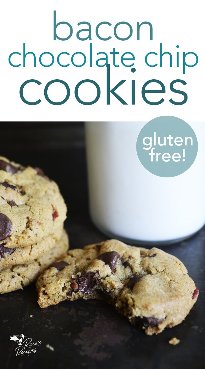 Bacon Chocolate Chip Cookies from raiasrecipes.com #bacon #chocolatechip #cookies #glutenfree #dessert