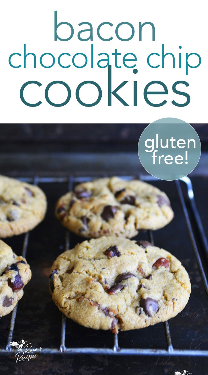 Gluten-free bacon chocolate chip cookies from raiasrecipes.com #bacon #chocolatechip #cookies #glutenfree #dessert