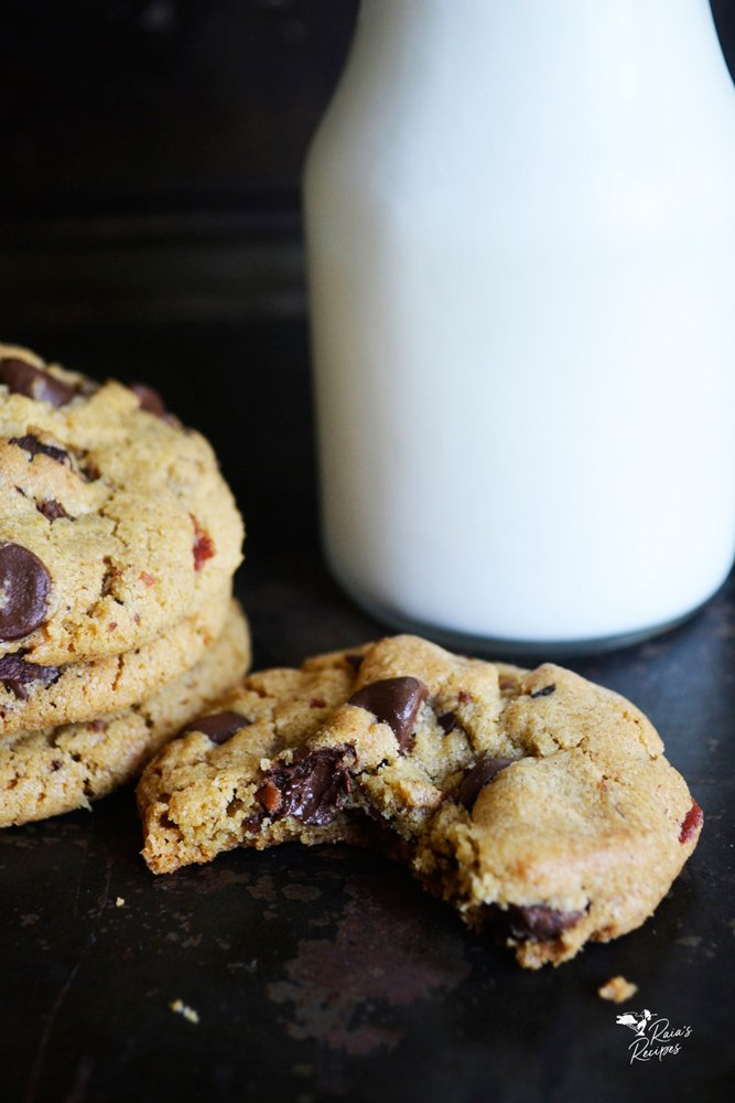 bite of chocolate chip bacon cookies from raiasrecipes.com