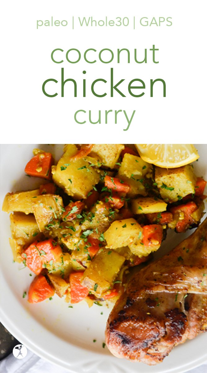 Full of flavor and deliciously healthy, this coconut chicken curry is a delicious meal! It easily fits into paleo, Whole30, and Full GAPS Diets, so everyone can enjoy! #chicken #curry #coconut #whole30 #paleo #primal #glutenfree #gapsdiet #eggfree #dairyfree