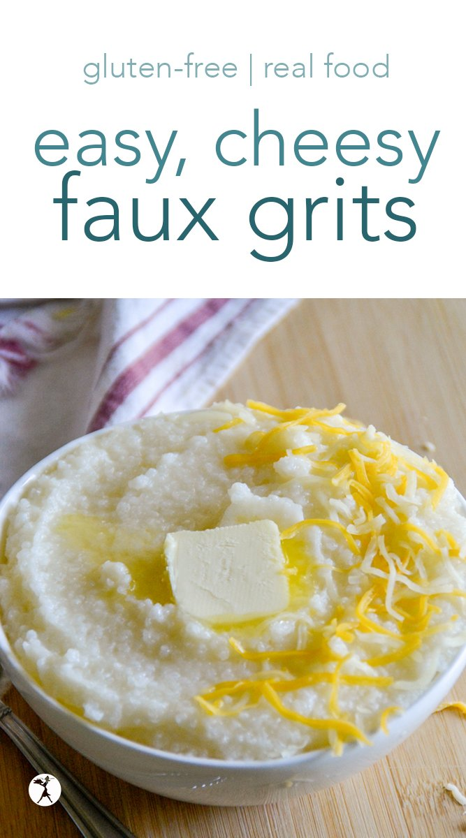 These cheesy faux grits have quickly become a favorite meal in my household. Not only do we eat them for breakfast, but they make an easy lunch or dinner, as well! #cheese #grits #cornfree #southernfood #breakfast #cereal #glutenfree #realfood #ricecereal