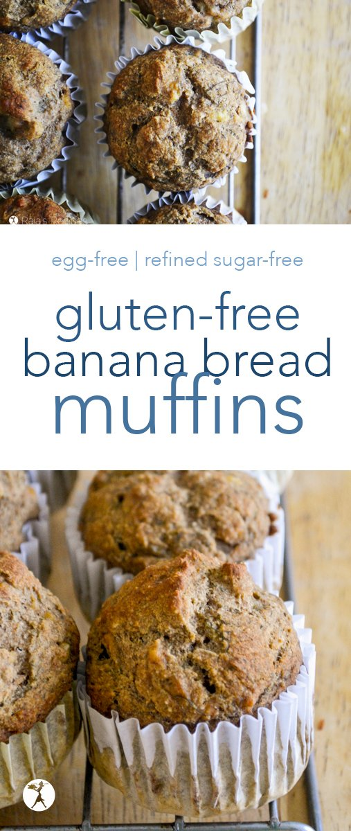 Whether you're a banana bread lover, or you just like everything muffin, these gluten, dairy, and refined sugar-free Banana Bread Muffins are sure to be a favorite! #glutenfree #bananabread #muffins #dairyfree #refinedsugarfree #breakfast