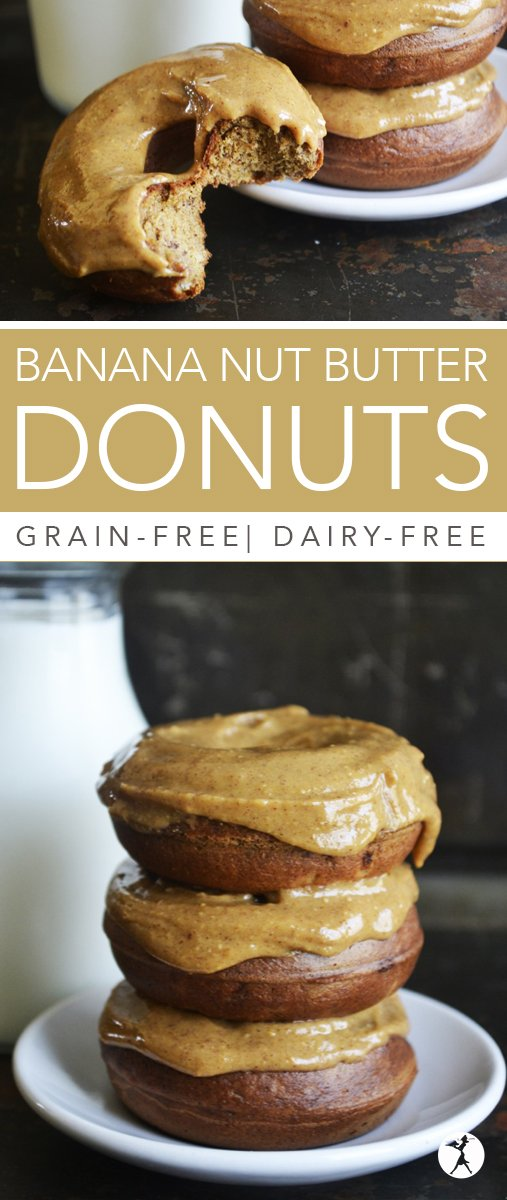 With only a few simple, real-food ingredients, these grain-free, dairy-free Banana Nut Butter Donuts are sure to be a healthy hit!