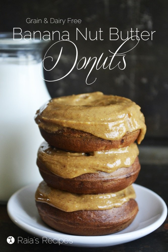 Banana Nut Butter Donuts by Raia's Recipes - featured at Natural Family Friday