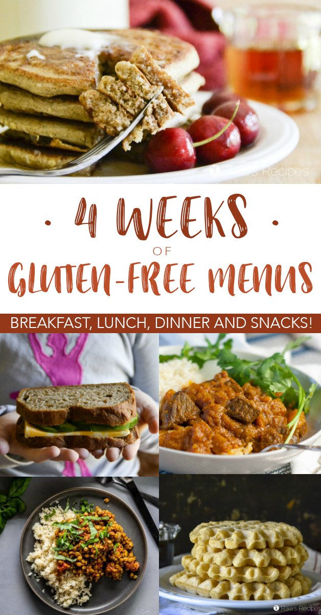 Need help planning a gluten-free menu? Let me help! Here are four weeks of gluten-free menus to help you get started. #glutenfree #mealplanning #menu #lunch #breakfast #dinner #realfood #healthyeating #snack