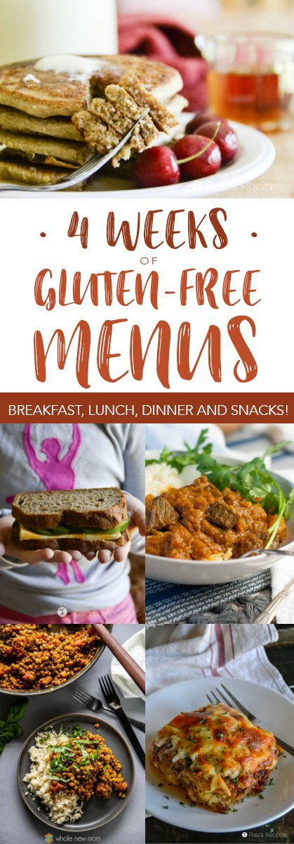 Need help planning a gluten-free menu? Let me help! Here are four weeks of gluten-free menus to help you get started. #glutenfree #mealplanning #menu #lunch #breakfast #dinner #realfood #healthyeating #snack