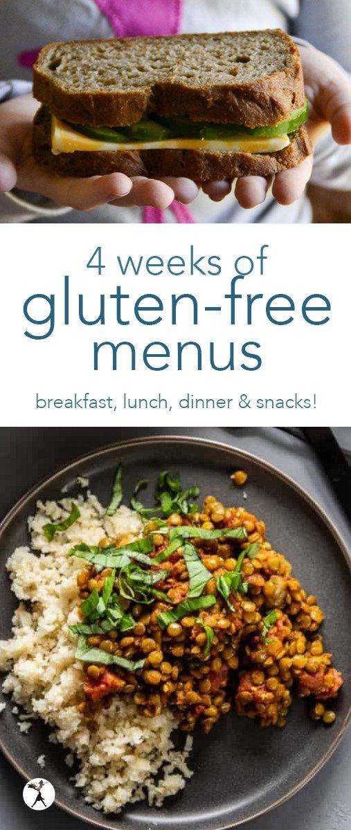 Need help planning a gluten-free menu? Let me help! Here are four weeks of gluten free menus to help you get started. #glutenfree #menu #mealplanning #breakfast #lunch #dinner #snacks #realfood