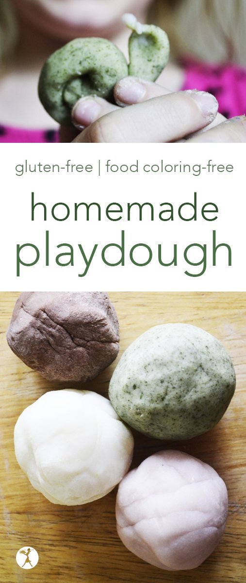Gluten-free play dough is easy to make! It only requires a few simple ingredients for a fun, non-toxic play dough that kids will enjoy, and moms will feel safe with. #diy #homemade #playdough #glutenfree #foodcoloringfree #nontoxic #dyefree