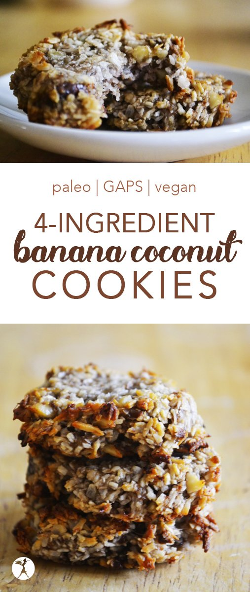 Easy and delicious, these paleo and vegan Banana Coconut Cookies are a hit whenever they're made! #glutenfree #paleo #gapsdiet #vegan #cookies #dairyfree #eggfree #coconut #banana