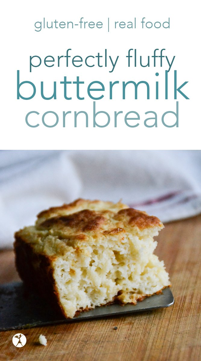 This delicious, fluffy gluten-free buttermilk cornbread is soft, pillowy, naturally gluten-free, and a perfect side for soups, BBQ, or chili! It only requires a few simple ingredients and you'll be devouring it in no time! #glutenfree #buttermilk #milkkefir #traditionalfood #cornbread #sidedish #bread #quickbread #southernfood #realfood