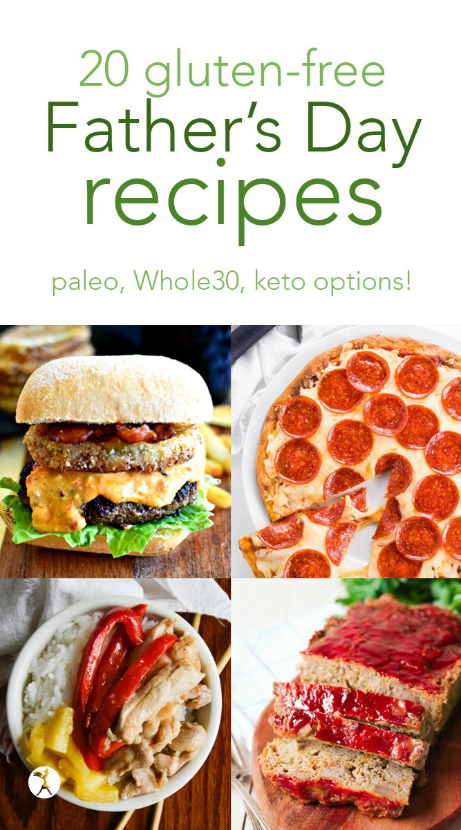 Check out these 20 gluten-free Father's Day recipes! All gloriously manly and delicious, with paleo, keto, Whole30 and GAPS-Diet-friendly recipes so that your special guy can celebrate no matter what. #fathersday #glutenfree #paleo #whole30 #keto #lowcarb #dinner #meat #pizza