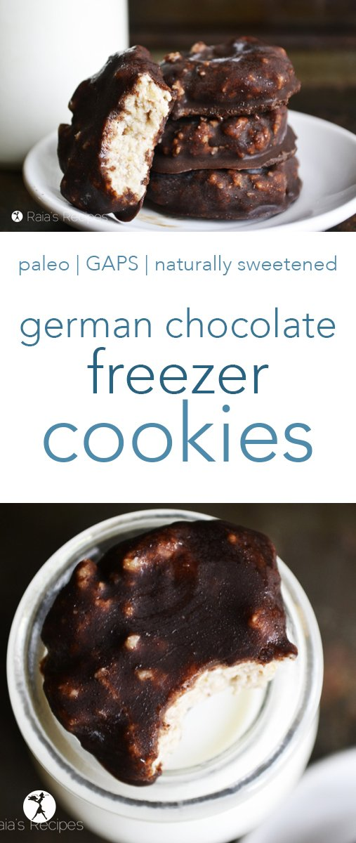 German Chocolate Freezer Cookies are naturally sweetened with fruit and honey and easy to make. Only a few ingredients and no bake time! #germanchocolate #cookies #nobake #raw #chocolate #dates #coconut #paleo #gapsdiet #vegetarian